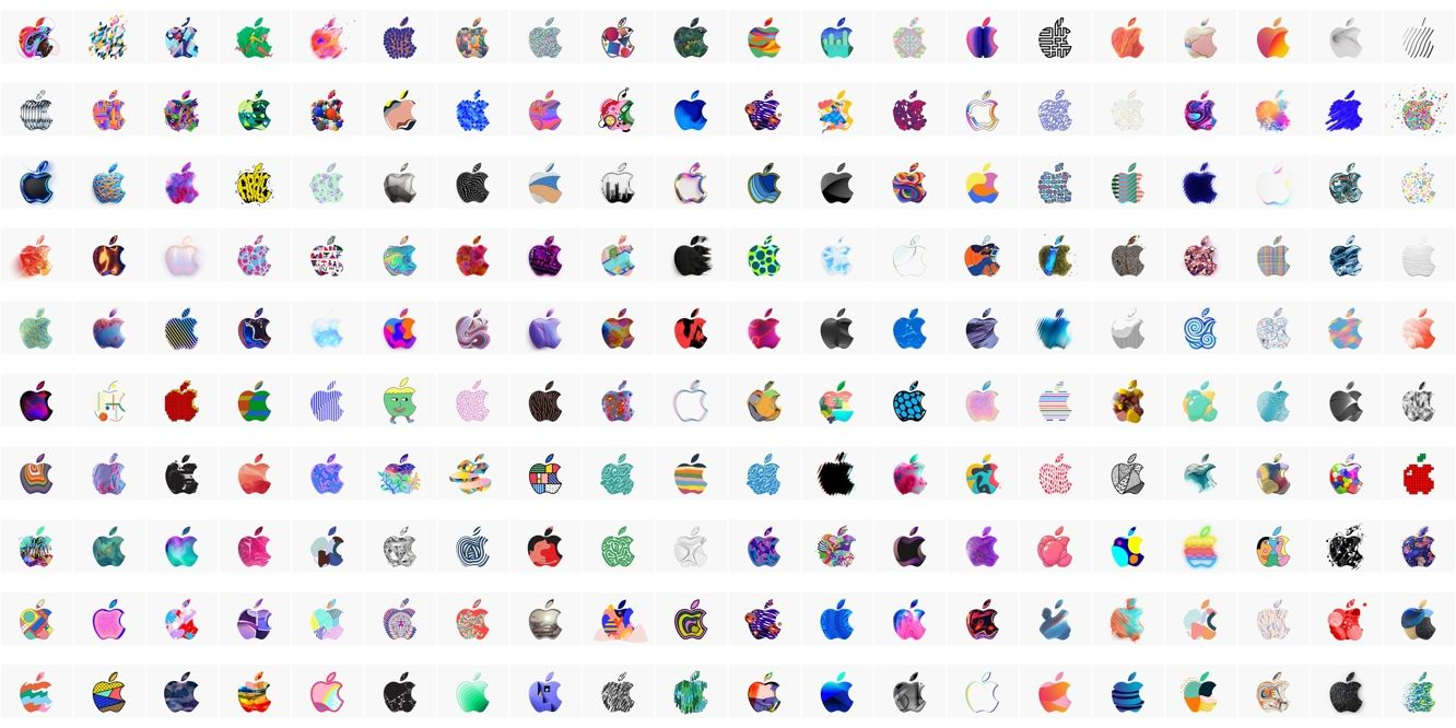 An image of the 371 interpretations of the Apple logo from October 2018